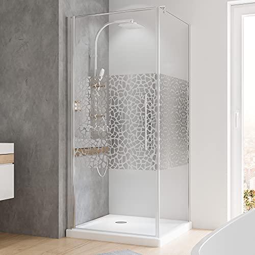Duschkabine mit Drehtür und Terrazzo Dekor