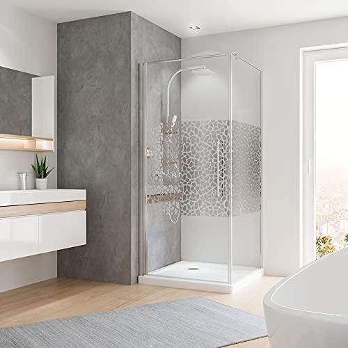 Duschkabine mit Drehtür und Terrazzo Dekor - 2