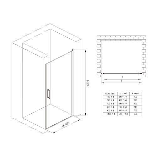 Rahmenlose Duschtür Drehtür Teramo24 mit Nanobeschichtung - 7