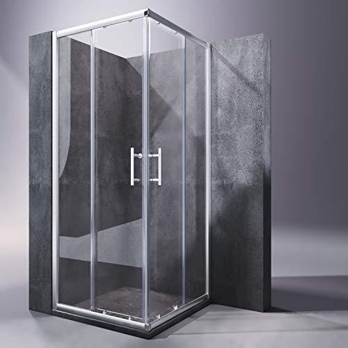 Duschkabine mit Eckeinstieg und Doppelschiebetüren aus Klarglas