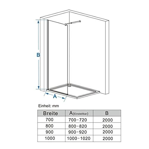 Walk In Duschwand aus Klarglas mit Nanobeschichtung von MIQU - 6