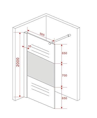 Teilsatinierte Duschwand ENTRY-PF mit Beschichtung für leichtere Reinigung - 2