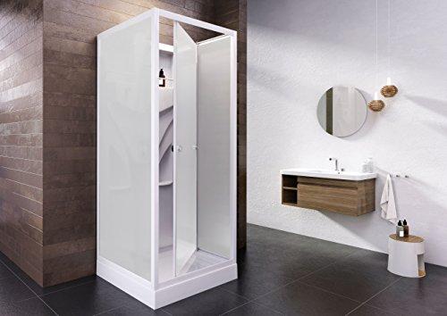 Wellnessdusche Fertigdusche Komplettdusche Duschtempel, 80x80 cm, Sicherheits-Glas matt, Profile weiß, Siena - 2