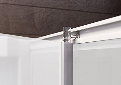 Wellnessdusche Fertigdusche Komplettdusche Duschtempel, 80x80 cm, Sicherheits-Glas matt, Profile weiß, Siena - 3
