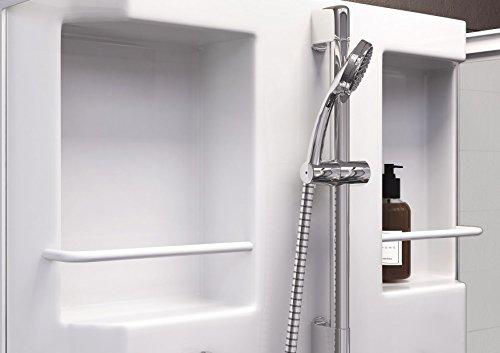 Wellnessdusche Fertigdusche Komplettdusche Duschtempel, 80x80 cm, Sicherheits-Glas matt, Profile weiß, Siena - 4