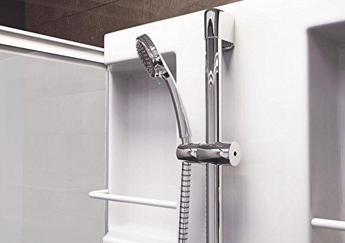 Wellnessdusche Fertigdusche Komplettdusche Duschtempel, 80x80 cm, Sicherheits-Glas matt, Profile weiß, Siena - 5