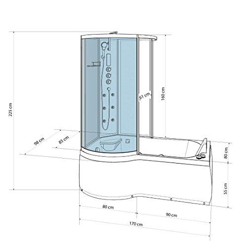 AcquaVapore DTP8050-A000R Wanne Duschtempel Badewanne Dusche Duschkabine 98x170, EasyClean Versiegelung der Scheiben:2K Scheiben Versiegelung +79.-EUR - 5