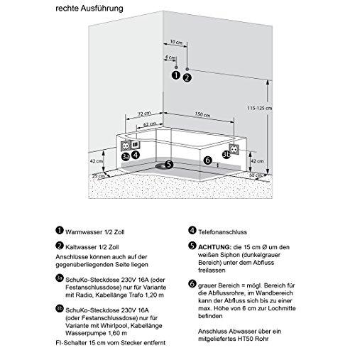 AcquaVapore DTP8050-A000R Wanne Duschtempel Badewanne Dusche Duschkabine 98x170, EasyClean Versiegelung der Scheiben:2K Scheiben Versiegelung +79.-EUR - 6