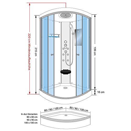 AcquaVapore DTP10-1010 Dusche Duschtempel Duschkabine Fertigdusche 90x90, EasyClean Versiegelung der Scheiben:2K Scheiben Versiegelung +79.-EUR - 4