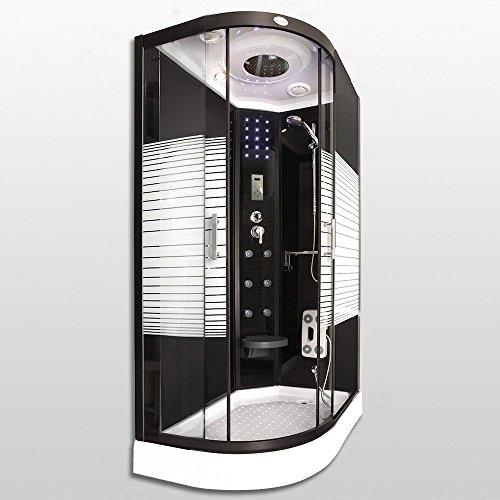Home Deluxe - Duschtempel - Black Pearl - 120x80 cm - Links - inkl. komplettem Zubehör - 3