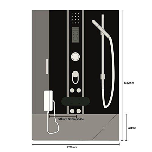 Home Deluxe Duschtempel | All in 4in1 | Schwarz | Links | inkl. Dampfsauna und komplettem Zubehör - 7