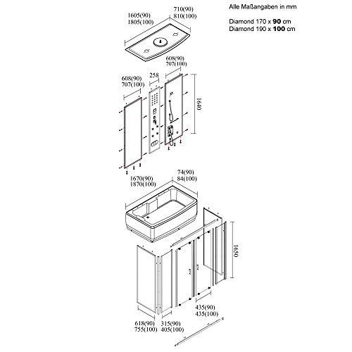 Duschtempel Diamond inklusive Dampfsauna und Whirlpool - 3
