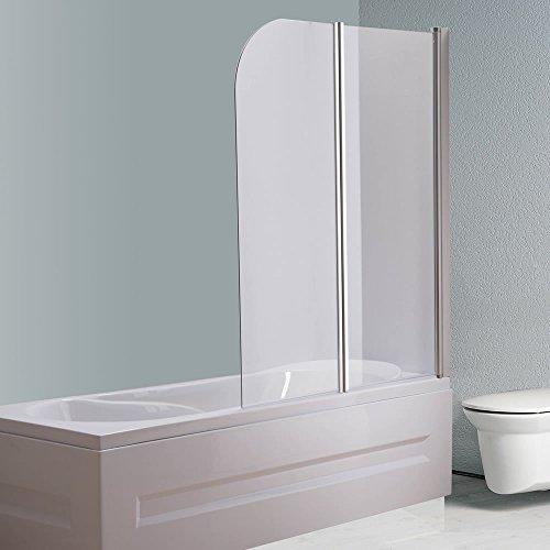 Melko® Duschabtrennung Badewannenaufsatz aus 5 mm ESG Sicherheitsglas, faltbar, 131,6 x 109 cm, Klarglas, inkl. Zubehör - 2