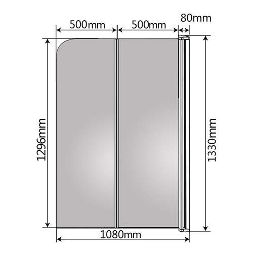 Melko® Duschabtrennung Badewannenaufsatz aus 5 mm ESG Sicherheitsglas, faltbar, 131,6 x 109 cm, Klarglas, inkl. Zubehör - 3