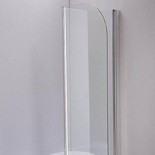 Melko® Duschabtrennung Badewannenaufsatz aus 5 mm ESG Sicherheitsglas, faltbar, 131,6 x 109 cm, Klarglas, inkl. Zubehör - 4