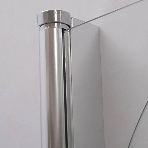 Melko® Duschabtrennung Badewannenaufsatz aus 5 mm ESG Sicherheitsglas, faltbar, 131,6 x 109 cm, Klarglas, inkl. Zubehör - 5