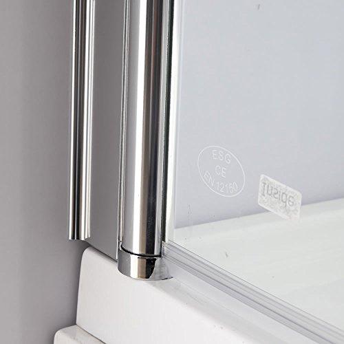 Melko® Duschabtrennung Badewannenaufsatz aus 5 mm ESG Sicherheitsglas, faltbar, 131,6 x 109 cm, Klarglas, inkl. Zubehör - 6