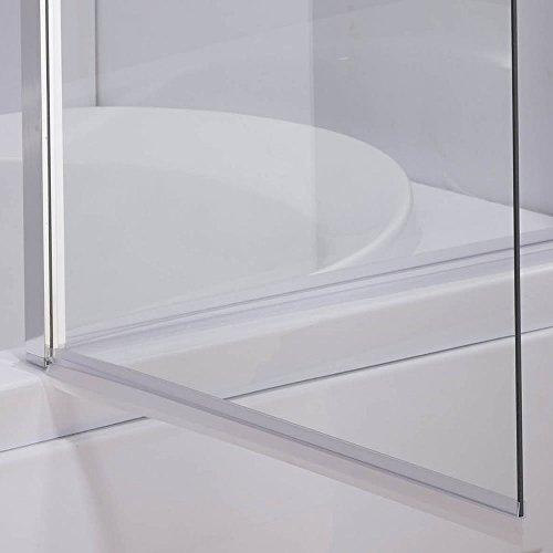 Melko® Duschabtrennung Badewannenaufsatz aus 5 mm ESG Sicherheitsglas, faltbar, 131,6 x 109 cm, Klarglas, inkl. Zubehör - 8
