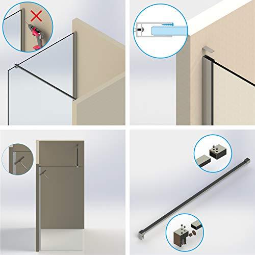 Satinierte Walk-In Duschwand der Serie DIAMOND mit Nanobeschichtung - 4