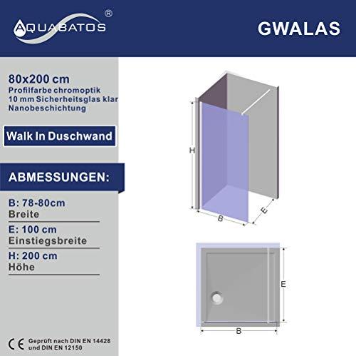 Satinierte Walk-In Duschwand der Serie DIAMOND mit Nanobeschichtung - 6