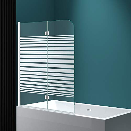 Faltwand Badewanne 120x140cm Badewannenaufsatz Duschwand 180° ESG Teilsatiniert NANO C1408SL Mai&Mai - 2