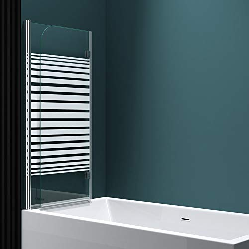 Faltwand Badewanne 120x140cm Badewannenaufsatz Duschwand 180° ESG Teilsatiniert NANO C1408SL Mai&Mai - 3