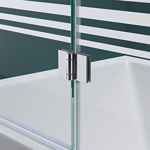Faltwand Badewanne 120x140cm Badewannenaufsatz Duschwand 180° ESG Teilsatiniert NANO C1408SL Mai&Mai - 4