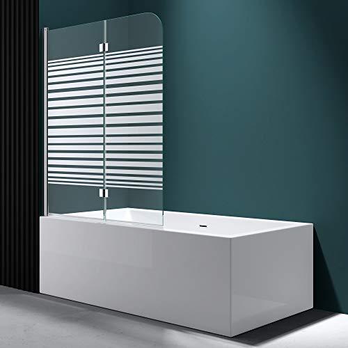 Faltwand Badewanne 120x140cm Badewannenaufsatz Duschwand 180° ESG Teilsatiniert NANO C1408SL Mai&Mai - 6