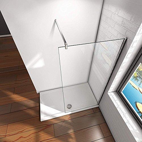 50x200cm Walk in Duschwand Duschtrennwand 8mm Easy-clean Nano Glas Duschabtrennung mit Stabilisierungsstange - 2