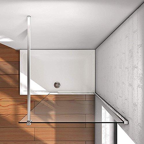50x200cm Walk in Duschwand Duschtrennwand 8mm Easy-clean Nano Glas Duschabtrennung mit Stabilisierungsstange - 3