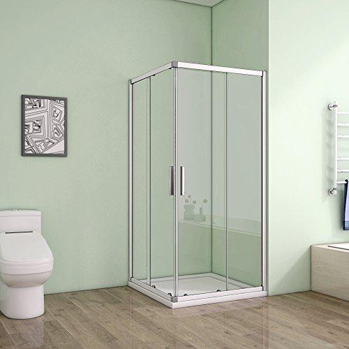 Duschkabine aus Klarglas mit Eckeinstieg und Schiebetür von AICA