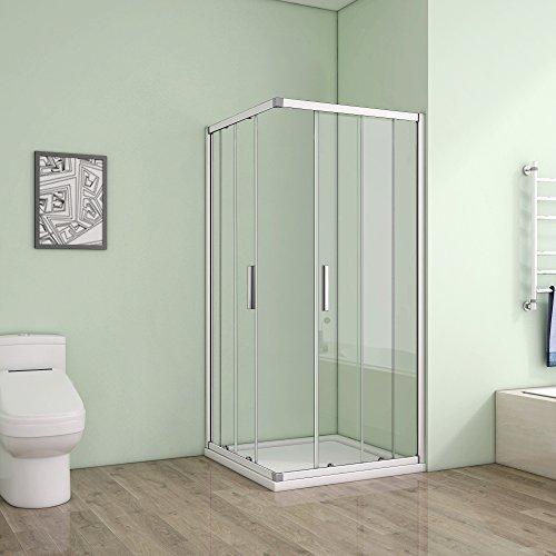 Duschkabine aus Klarglas mit Eckeinstieg und Schiebetür von AICA - 2