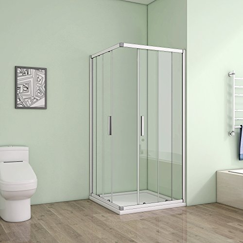 80 x 80 x 185 cm Duschkabine Schiebetür Eckeinstieg Duschabtrennung Duschwand aus 5mm ESG Sicherheitsglas Klarglas ohne Duschtasse - 2