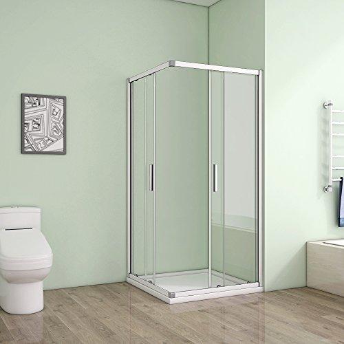 80 x 80 x 185 cm Duschkabine Schiebetür Eckeinstieg Duschabtrennung Duschwand aus 5mm ESG Sicherheitsglas Klarglas ohne Duschtasse - 3
