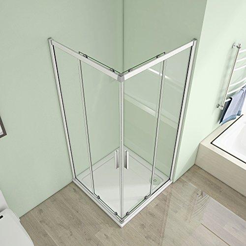 80 x 80 x 185 cm Duschkabine Schiebetür Eckeinstieg Duschabtrennung Duschwand aus 5mm ESG Sicherheitsglas Klarglas ohne Duschtasse - 4