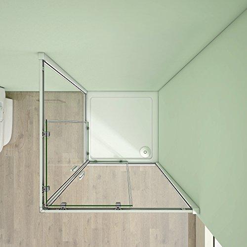 80 x 80 x 185 cm Duschkabine Schiebetür Eckeinstieg Duschabtrennung Duschwand aus 5mm ESG Sicherheitsglas Klarglas ohne Duschtasse - 5