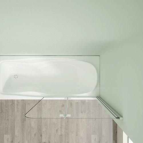 Badewannenaufsatz 80x140cm Duschabtrennung Duschwand für Badewanne 5mm Sicherheitsglas - 5