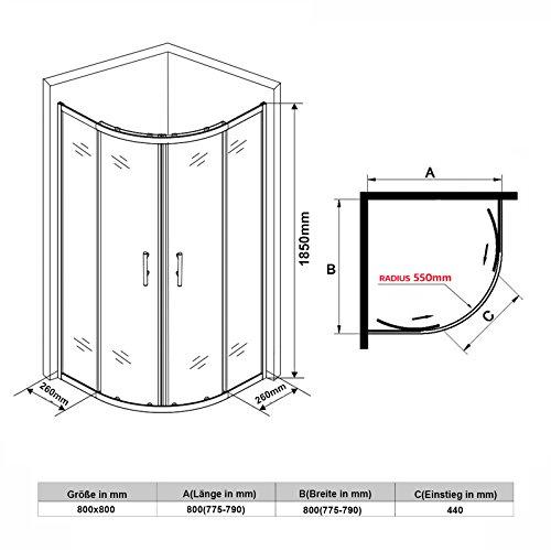 Runde Duschkabine mit Vollrahmen und Schiebetüren - 4