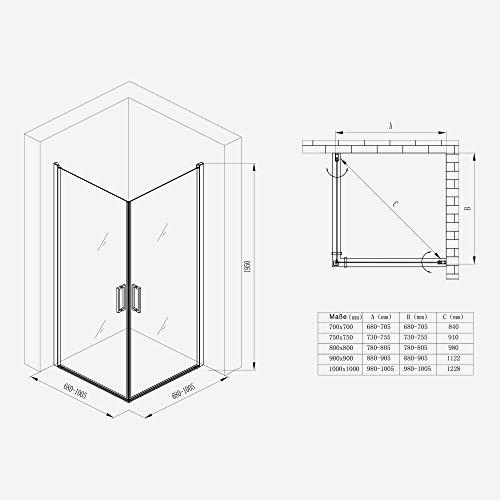 Duschkabine 70x70 Eckeinstieg Hebe-Senk Mechanismus Duschabtrennung ESG-Sicherheitsglas Lotus-Effekt Faltbar Ravenna24ms - 7