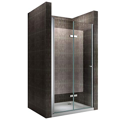 Rahmenlose Duschtür Falttür aus Klarglas mit Nanobeschichtung