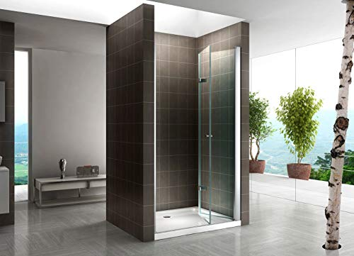 Rahmenlose Duschtür Falttür aus Klarglas mit Nanobeschichtung - 2