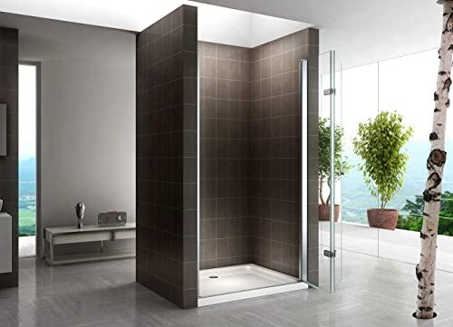 Rahmenlose Duschtür Falttür aus Klarglas mit Nanobeschichtung - 3