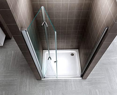 Rahmenlose Duschtür Falttür aus Klarglas mit Nanobeschichtung - 4