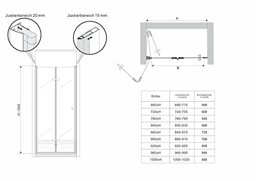 Rahmenlose Duschtür Falttür aus Klarglas mit Nanobeschichtung - 6