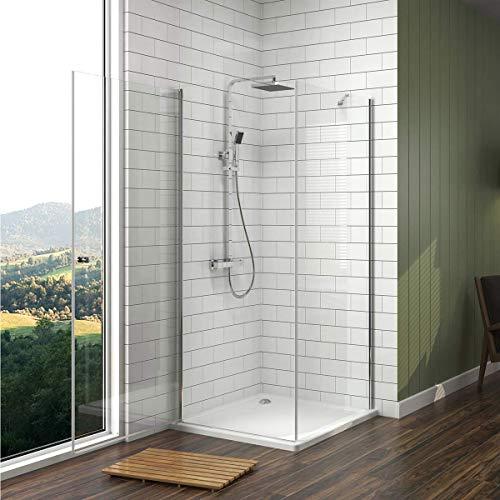 Duschkabine mit fester Seitenwand und Drehtür von Meykoe