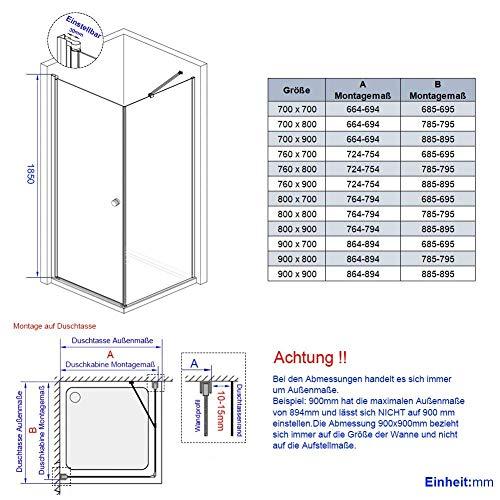 Duschkabine mit fester Seitenwand und Drehtür von Meykoe - 9