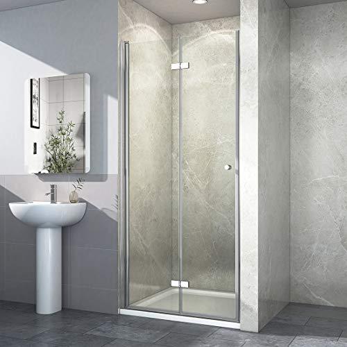 Rahmenlose Duschtür faltbar mit hochwertigen Montageteilen von EMKE