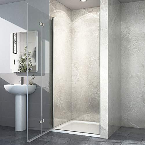 Rahmenlose Duschtür faltbar mit hochwertigen Montageteilen von EMKE - 2