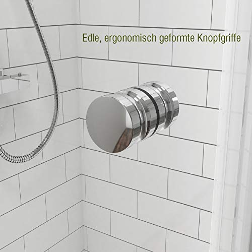 Rahmenlose Duschtür faltbar mit hochwertigen Montageteilen von EMKE - 3