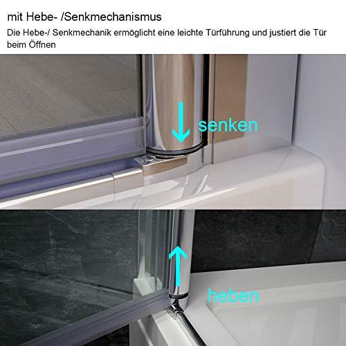 Duschkabine Dusche Falttür Duschabtrennung Duschtür Duschwand aus Sicherheitsglas 70 x 185 cm - 6